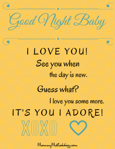 Good Night Baby Bedtime Rhyme Printable - Blue