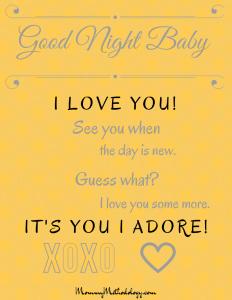 Good Night Baby Bedtime Rhyme Printable - Gray