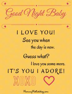 Good Night Baby Bedtime Rhyme Printable - Pink