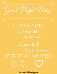 Good Night Baby Bedtime Rhyme Printable - White