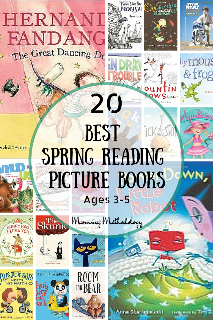 I'm sharing a great collection of 20 Best Spring Reading Picture Books for ages 3 to 5. Spark imagination with fun rhyming picture books. Grow memories! Get a FREE printable list to take to your Library or bookstore!