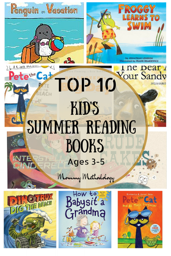 Top 10 Kid's Summer Reading Books ages 3-5. An older sibling involved in a Summer Reading program? Now you don't have to leave your preschooler out! Use this fun list just for them. FREE printable list included to take to library or bookstore.