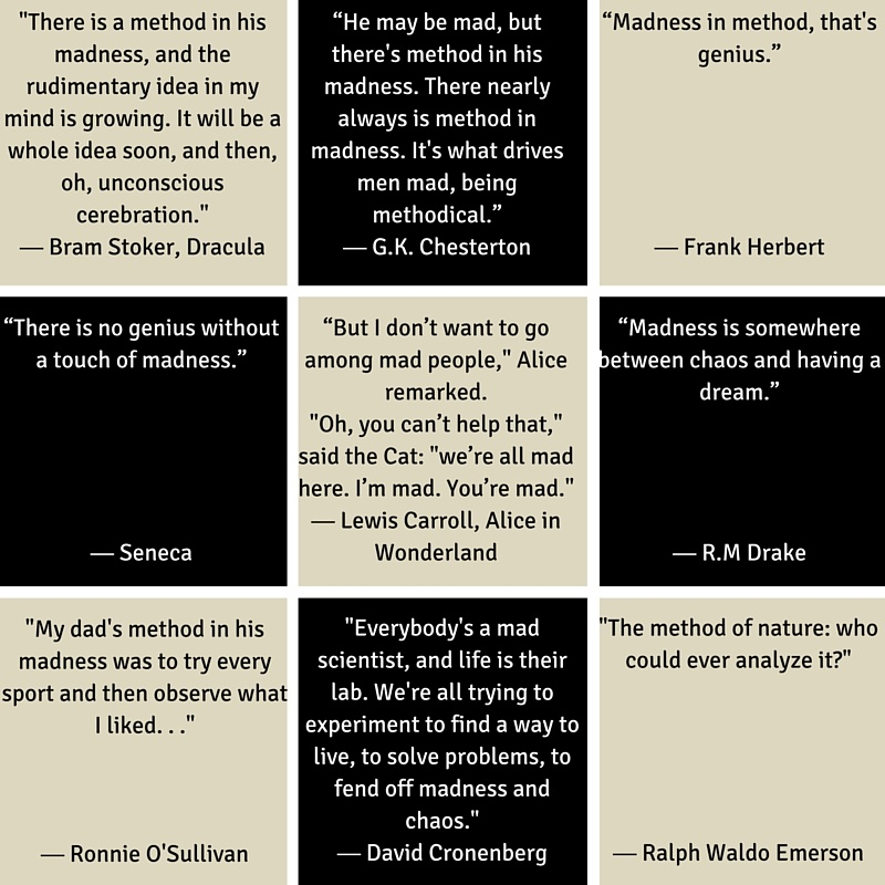 31 Days of Methods In Madness Day 30 Method- Quote Focus - Famous Quotes about Methods in Madness - from Mommy Methodology